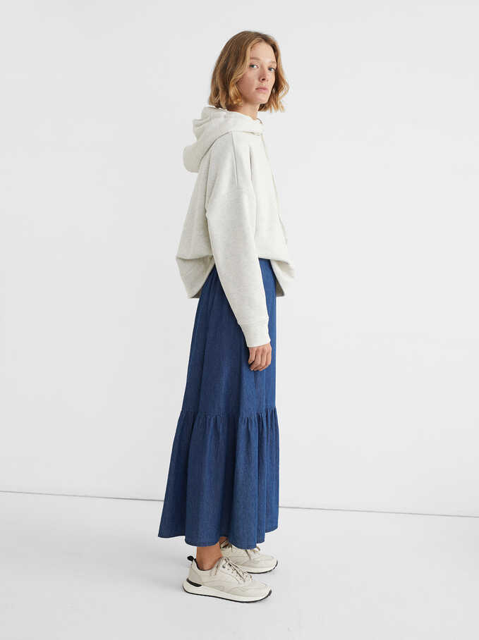 Long Tiered Denim Skirt, Blue, hi-res