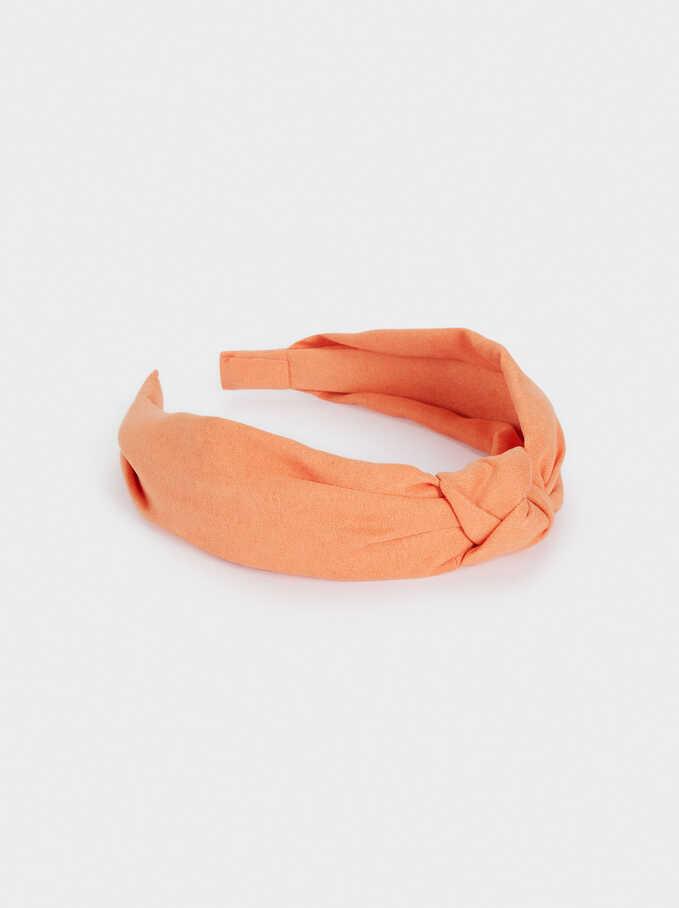 Printed Knot Headband, Coral, hi-res