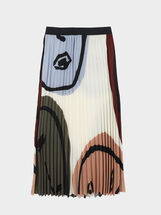 Printed Pleated Skirt, Ecru, hi-res
