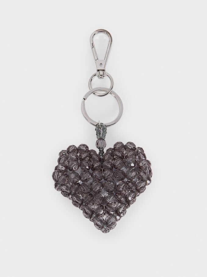 Heart Key Ring, Grey, hi-res