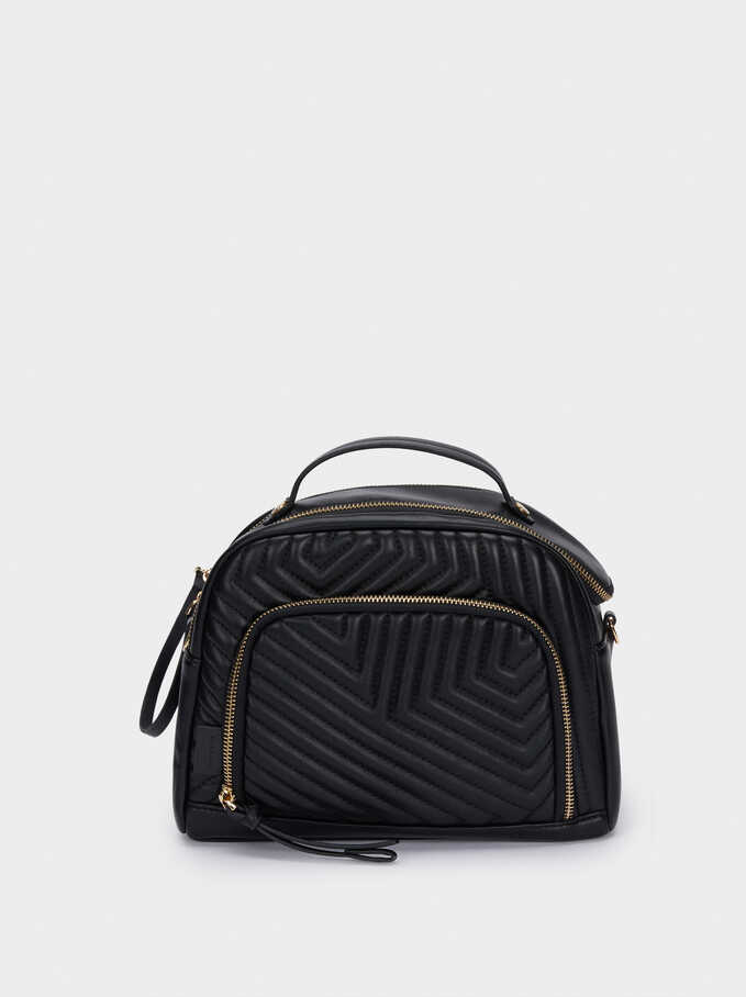 Quilted Lunch Bag, Black, hi-res
