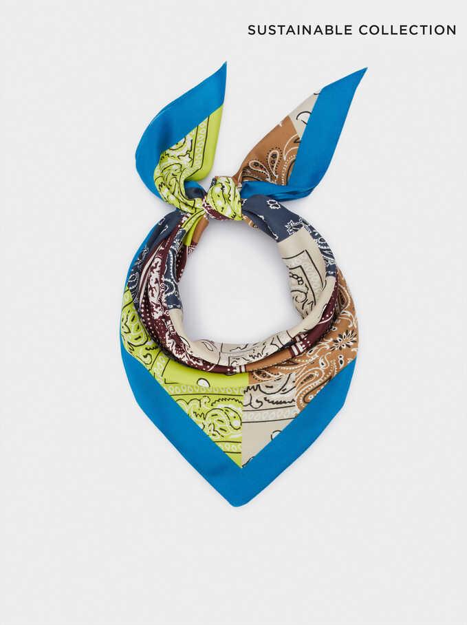 Pañuelo Cuadrado Estampado Fabricado Con Materiales Reciclados, Azul, hi-res