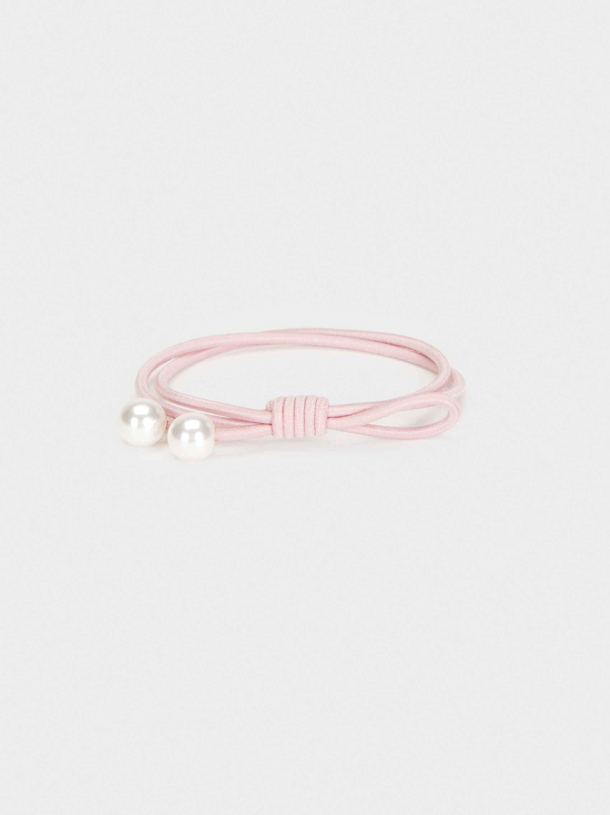 Faux Pearl Hair Elastic, Pink, hi-res