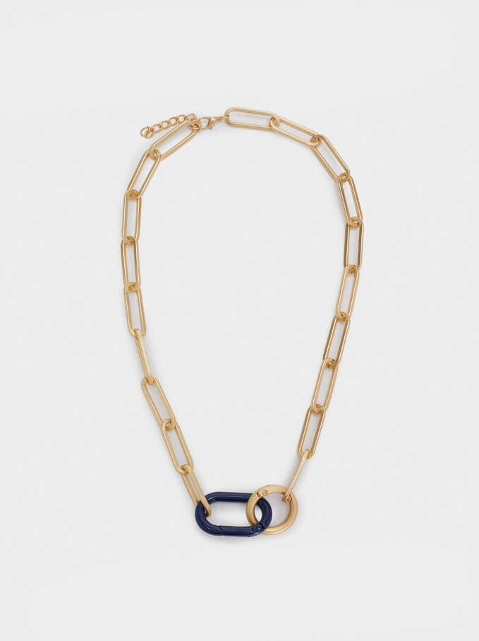 Short Chain Necklace, Navy, hi-res