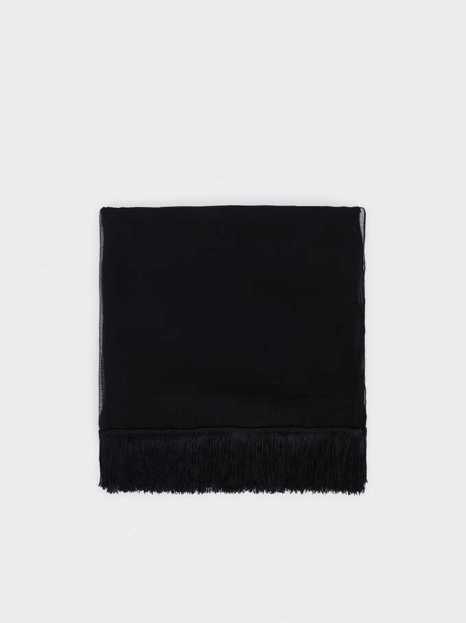 Plain Wedding Scarf, Black, hi-res