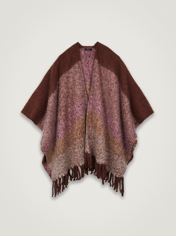 Knit Poncho With Fringes, Pink, hi-res