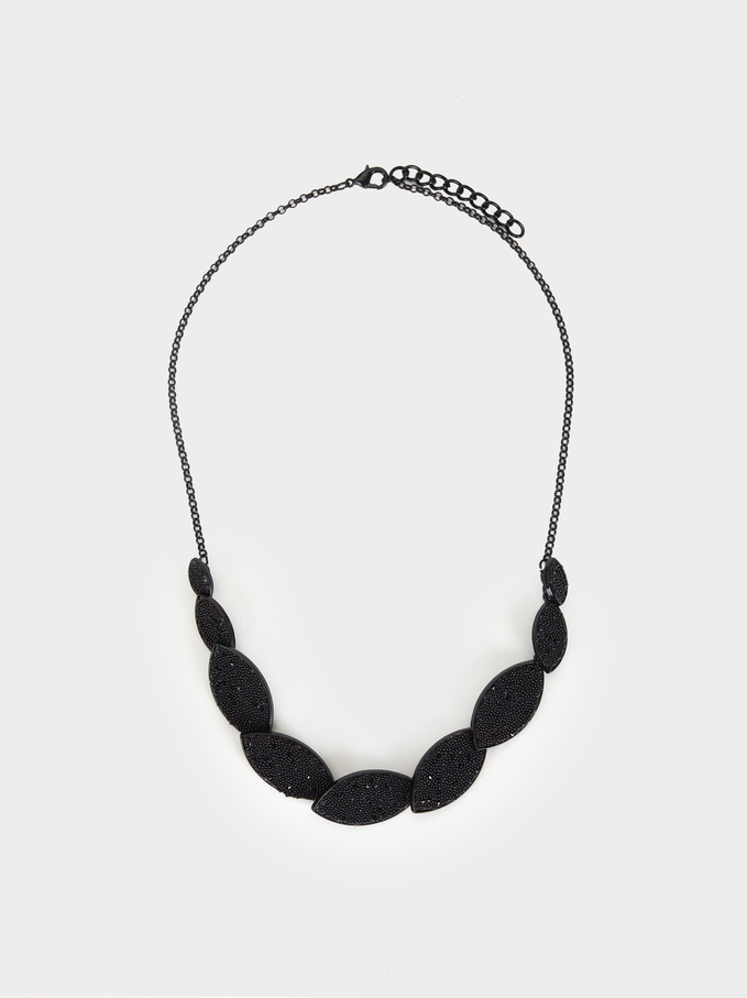 Star Dust Short Necklace, Black, hi-res