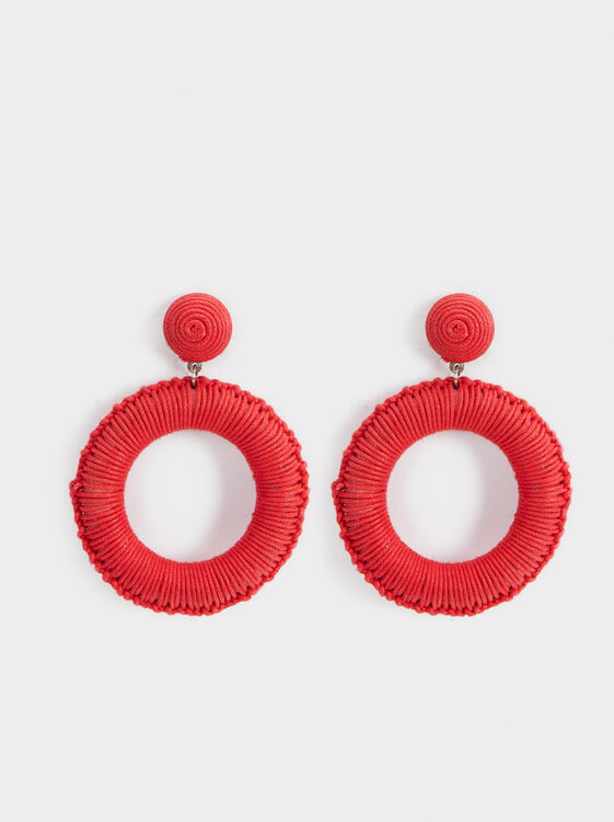 Strawberry Fields Long Round Earrings, Red, hi-res