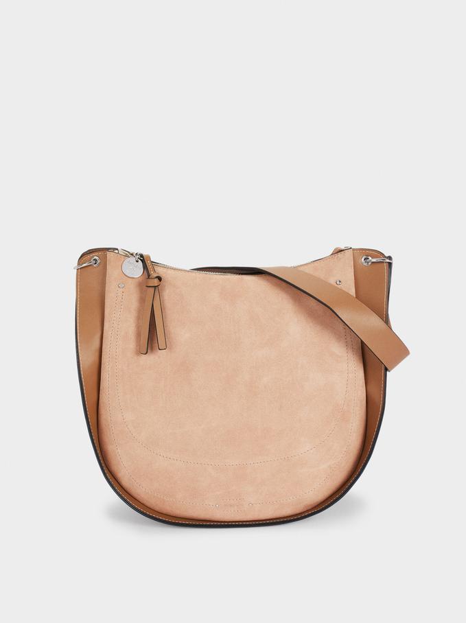 Suede Shoulder Bag, Beige, hi-res