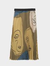 Falda Plisada Estampada, Caqui, hi-res