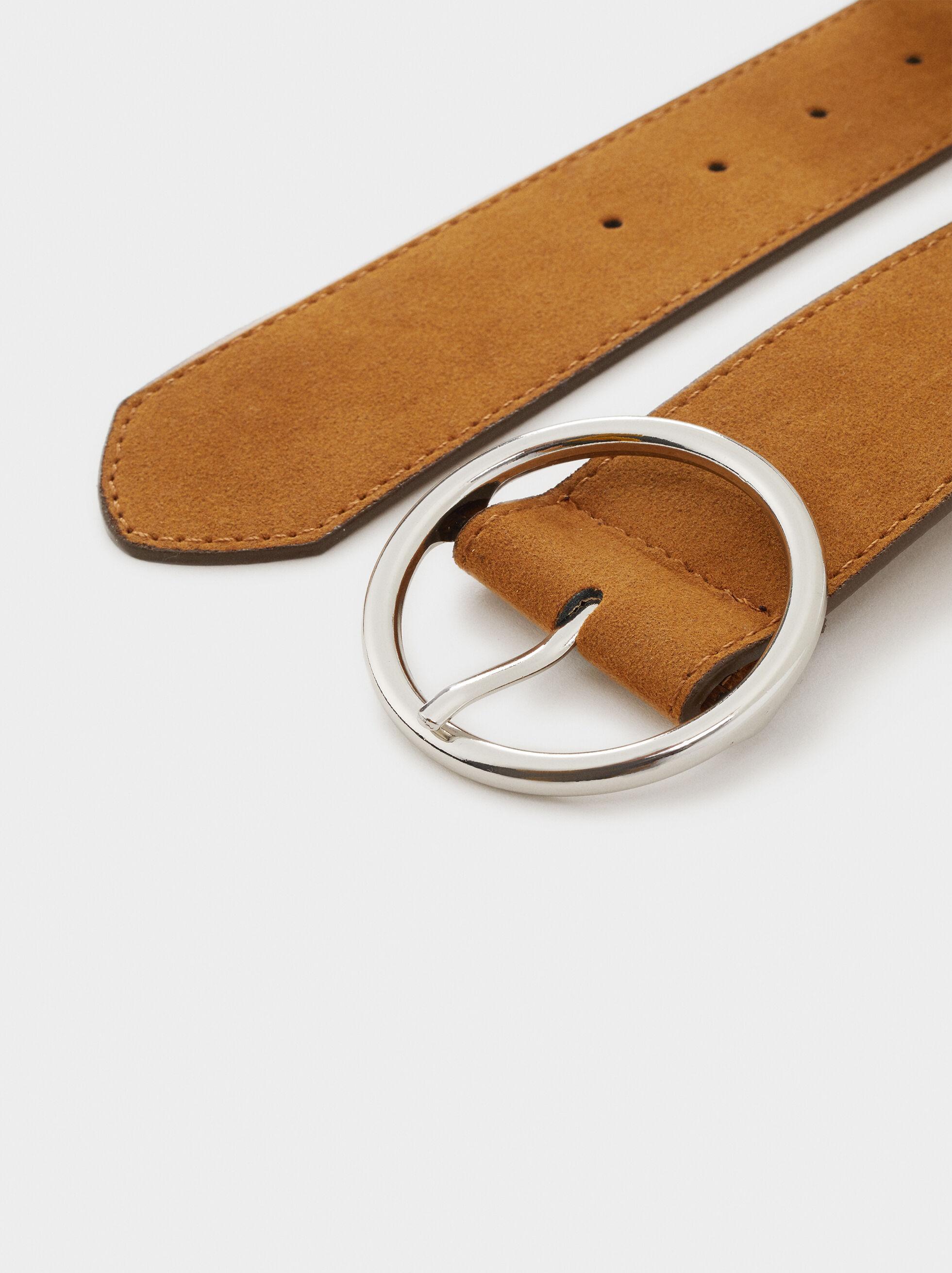 Suede Texture Belt, Camel, hi-res
