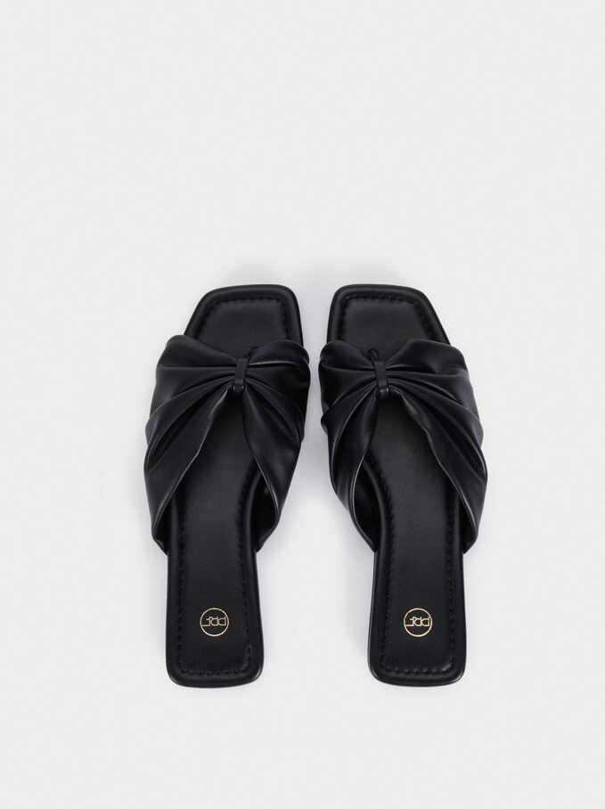 Sandales Plates Matelassées Avec Nœud, Noir, hi-res
