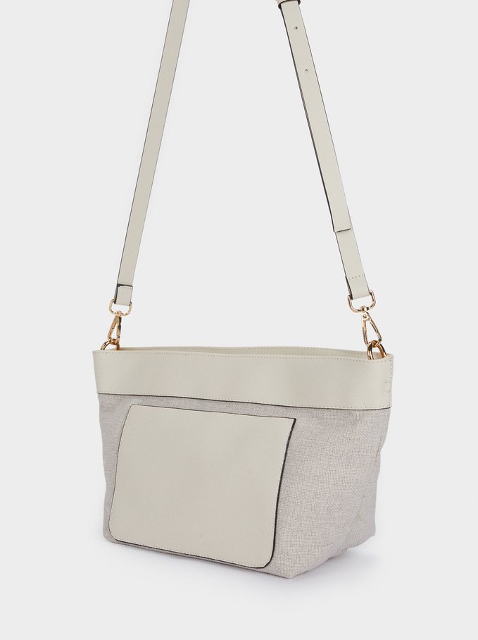 Tote Bag With Removable Inner Section, Ecru, hi-res