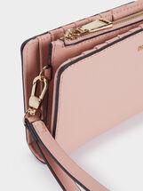Faux Leather Plain Wallet, Pink, hi-res
