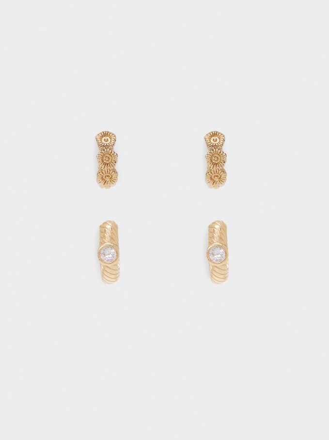 Conjunto De Aros Con Cristales, Dorado, hi-res
