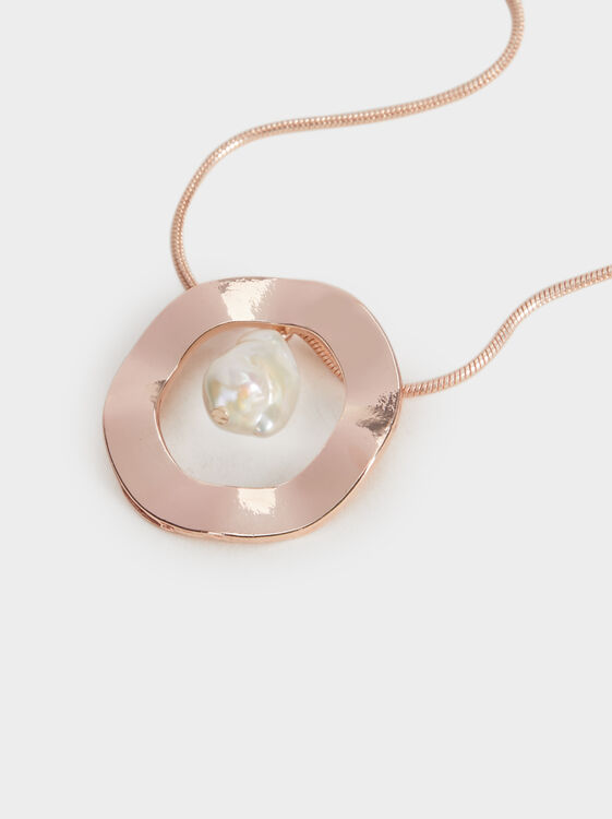 Pink Desert Short Necklace With Pendant, Orange, hi-res