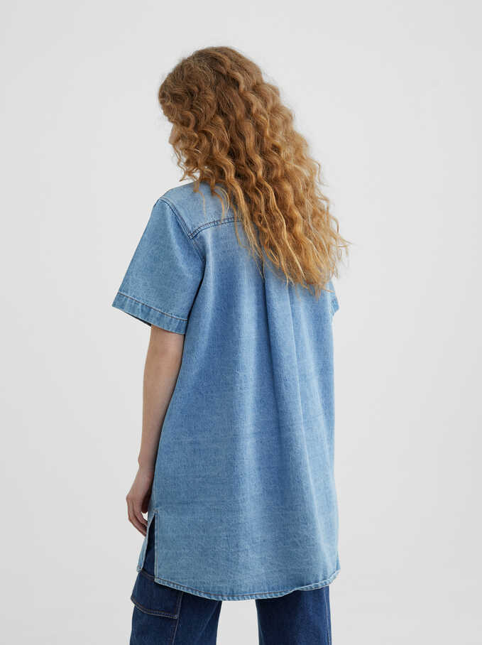 Denim Shirt Dress, Blue, hi-res