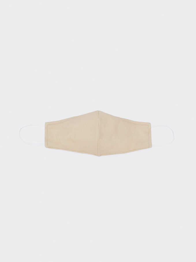 Reusable Printed Mask, Beige, hi-res