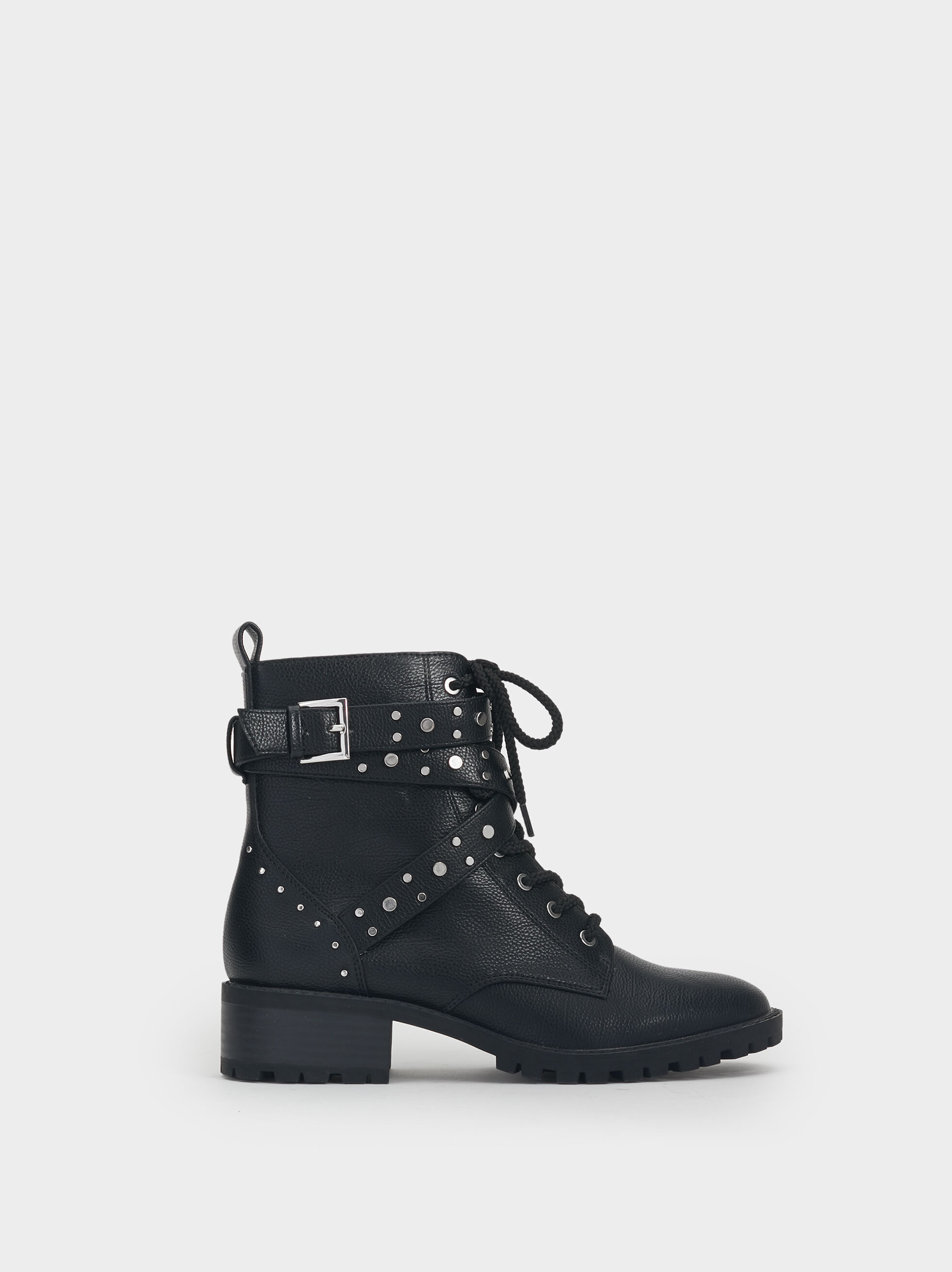 Studded Military Boots, Black, hi-res