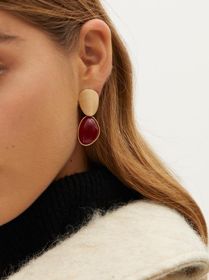 Enamel Earrings, Red, hi-res