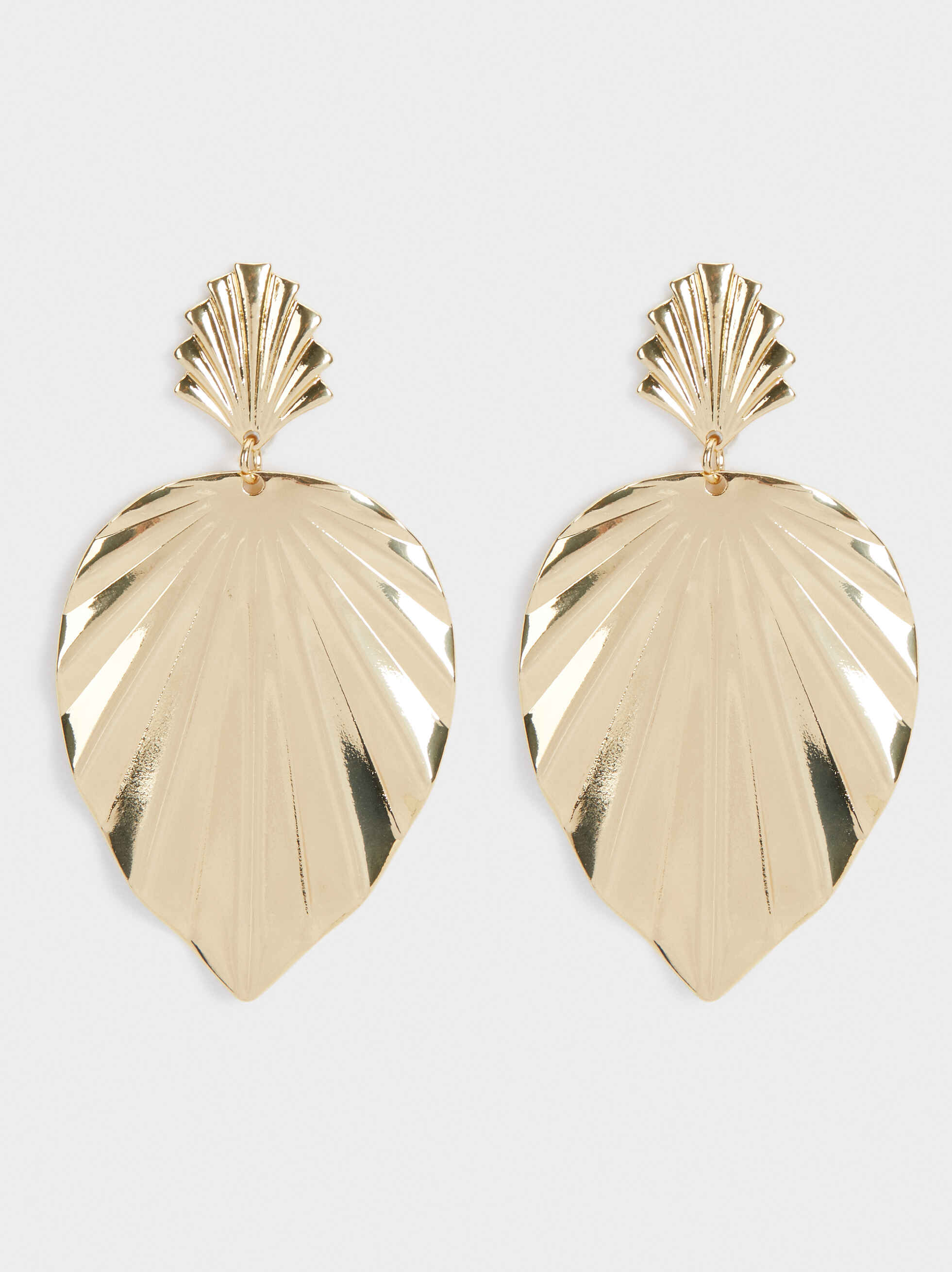 Leaf Dangle Earrings , Golden, hi-res