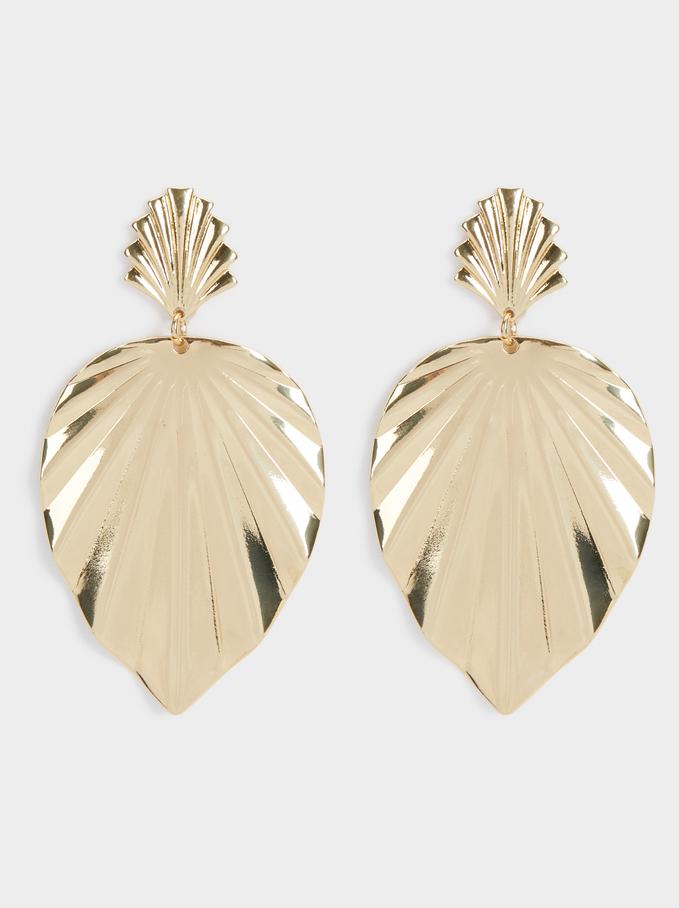 Leaf Dangle Earrings , Golden, hi-res
