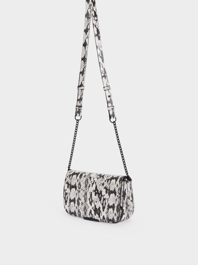 Embossed Animal Print Party Crossbody Bag, Black, hi-res