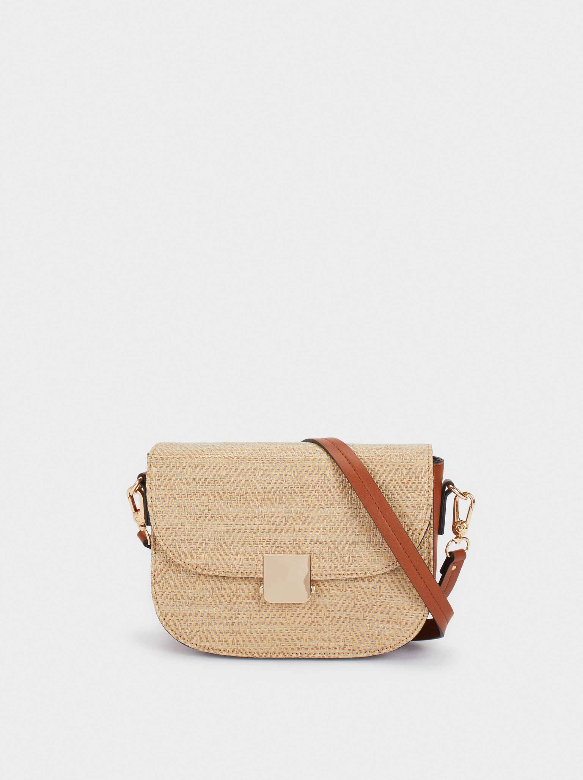 Straw Finish Crossbody Bag, , hi-res