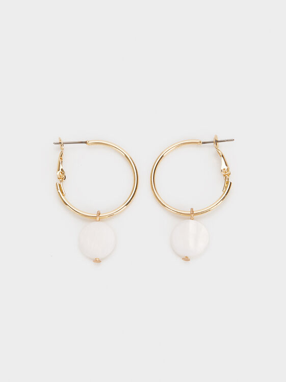 Medium-Sized Faux Pearl Hoop Earrings, , hi-res