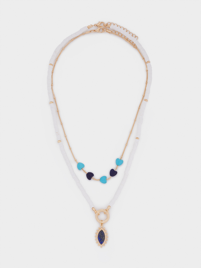Set Of Contrasting Necklaces With Hearts, Blue, hi-res