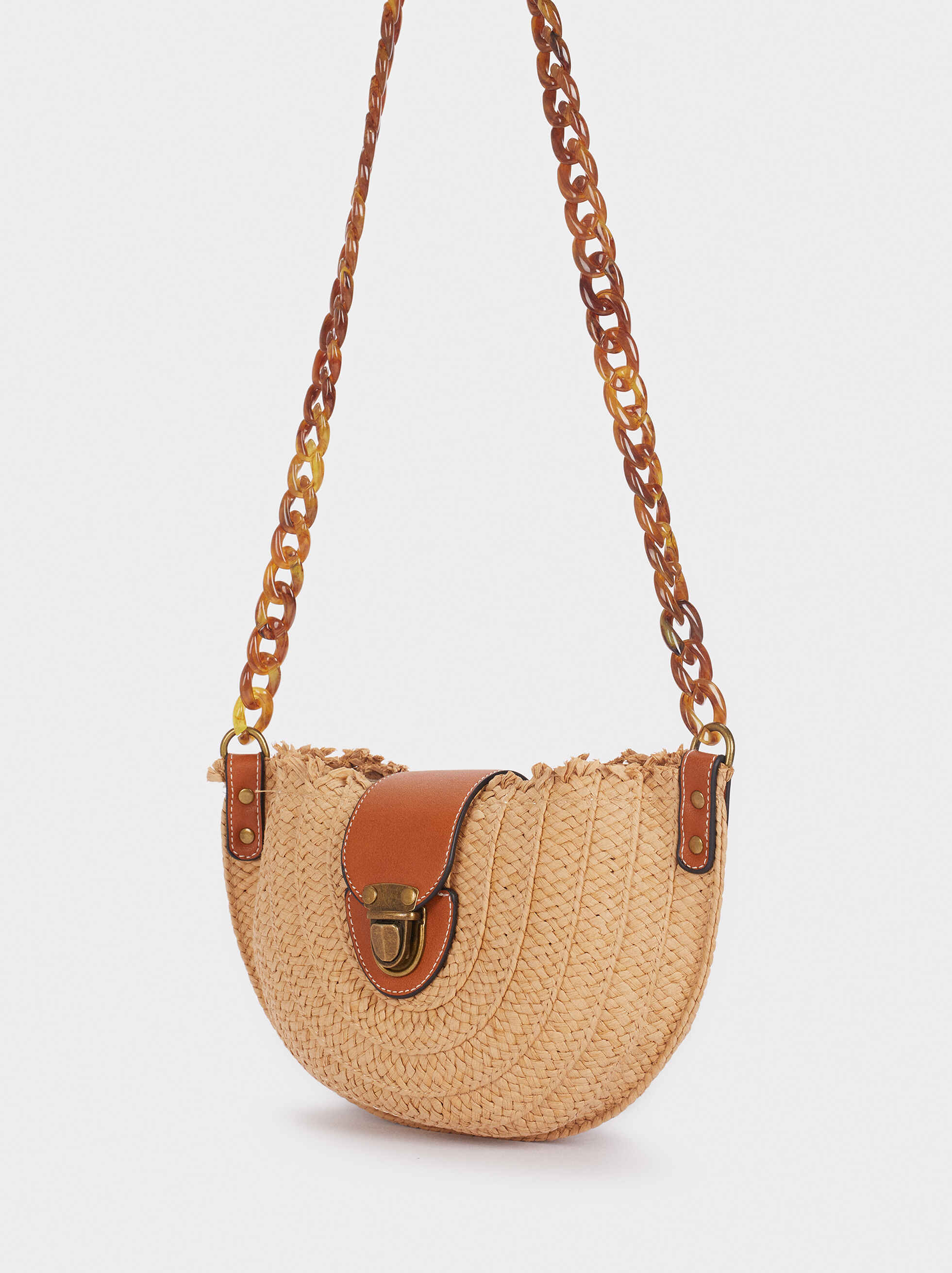 Raffia Shoulder Bag, Beige, hi-res