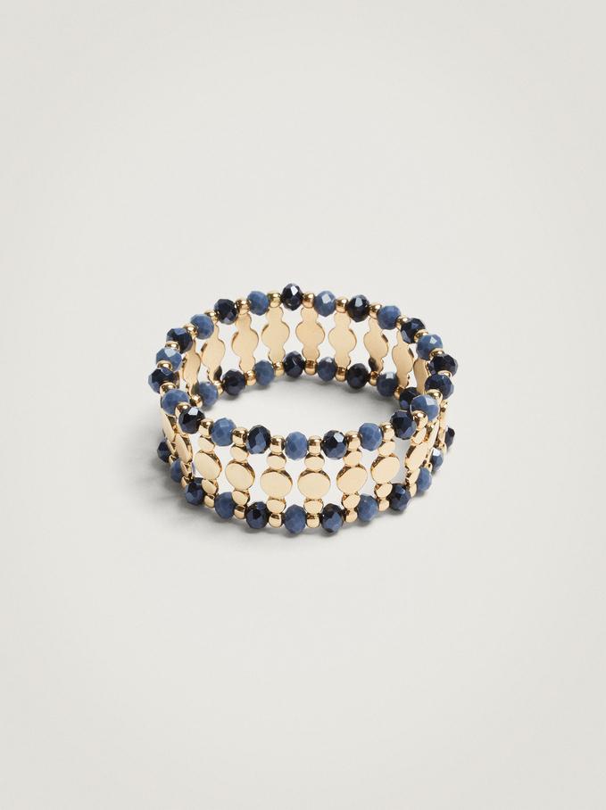 Elastisches Armband Mit Strass, Blau, hi-res