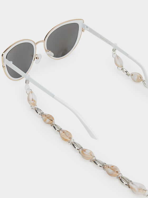 Seashell Glasses Chain, Silver, hi-res