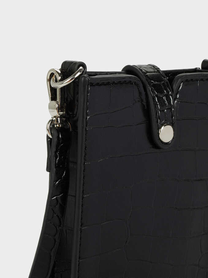 Phone Case With Shoulder Strap, Black, hi-res