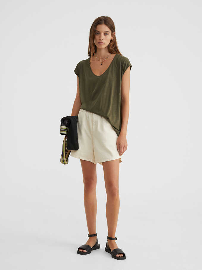 Basic V-Neck T-Shirt, Khaki, hi-res