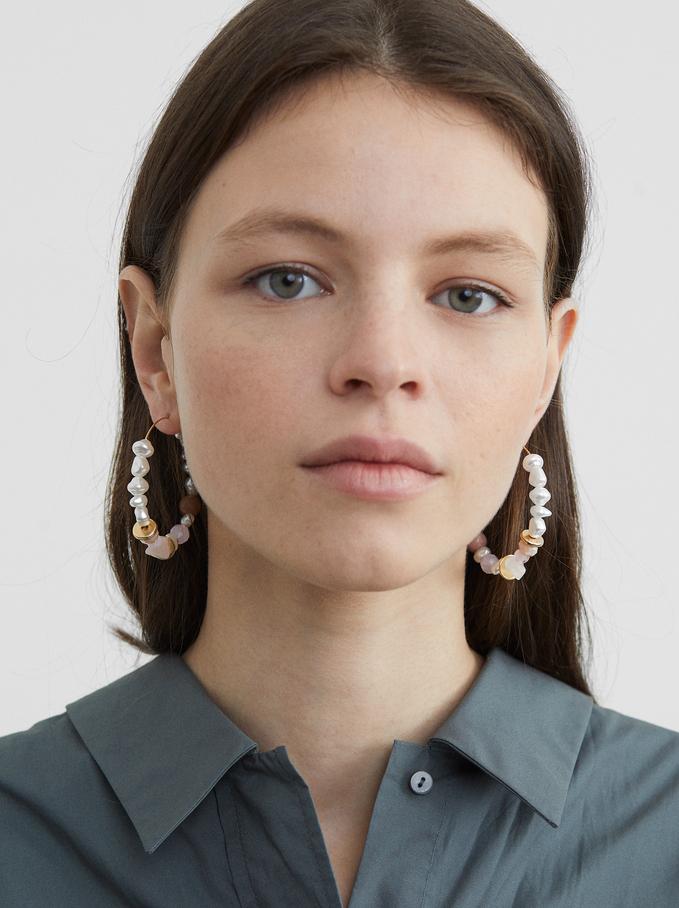 Petrified Large Hoop Earrings, Pink, hi-res