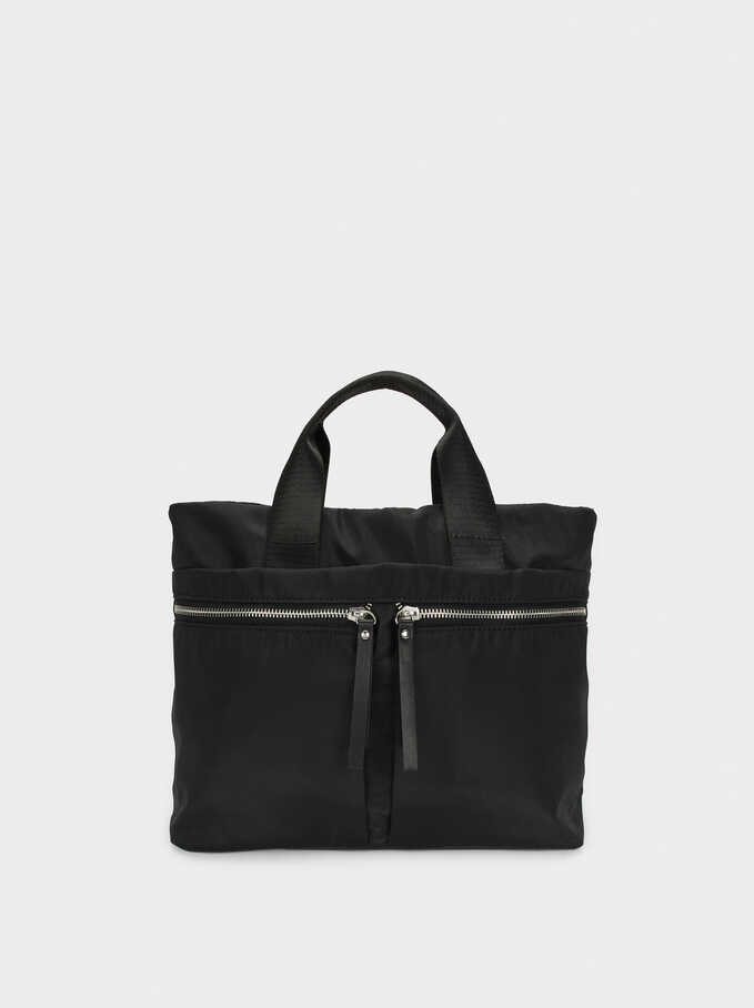 Nylon Tote Bag With Pockets, Black, hi-res