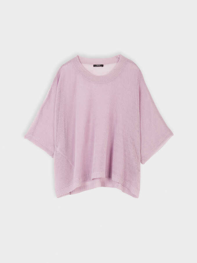 Round-Neck Knit Sweater, Purple, hi-res