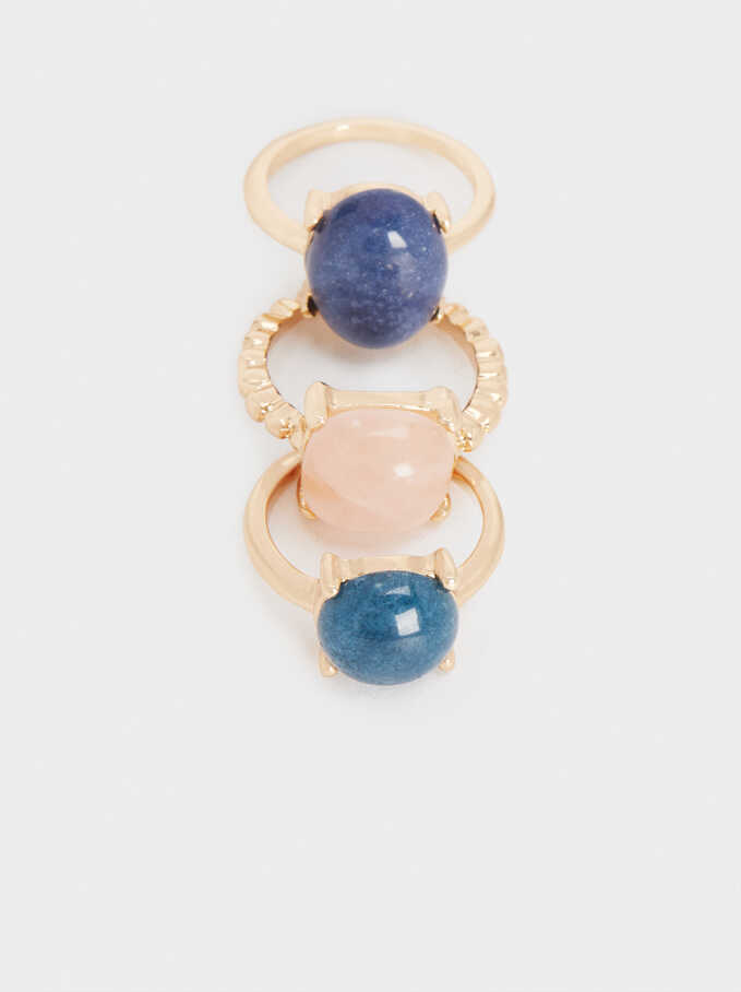 Set Of Stone Rings, Multicolor, hi-res