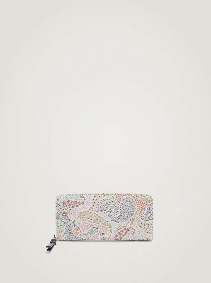 Paisley Print Nylon Long Wallet, Blue, hi-res
