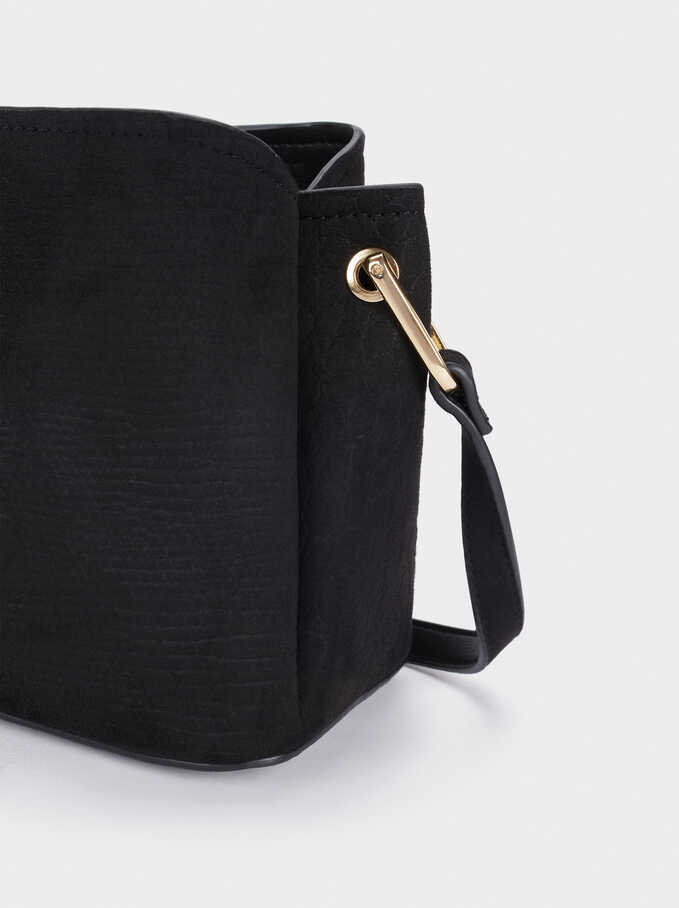Faux Suede Crossbody Bag, Black, hi-res