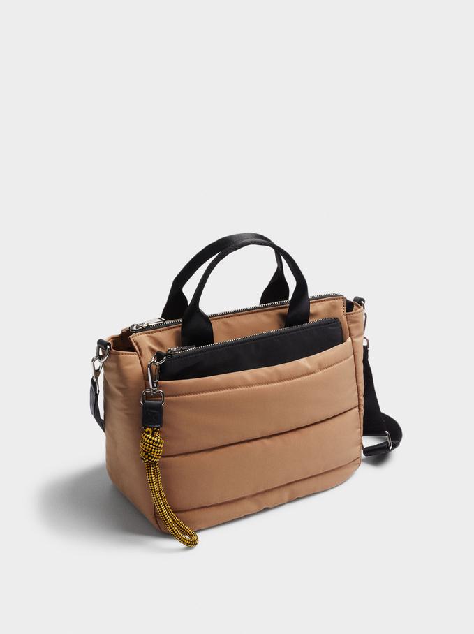 Nylon Shopper Bag With Removable Purse, Camel, hi-res
