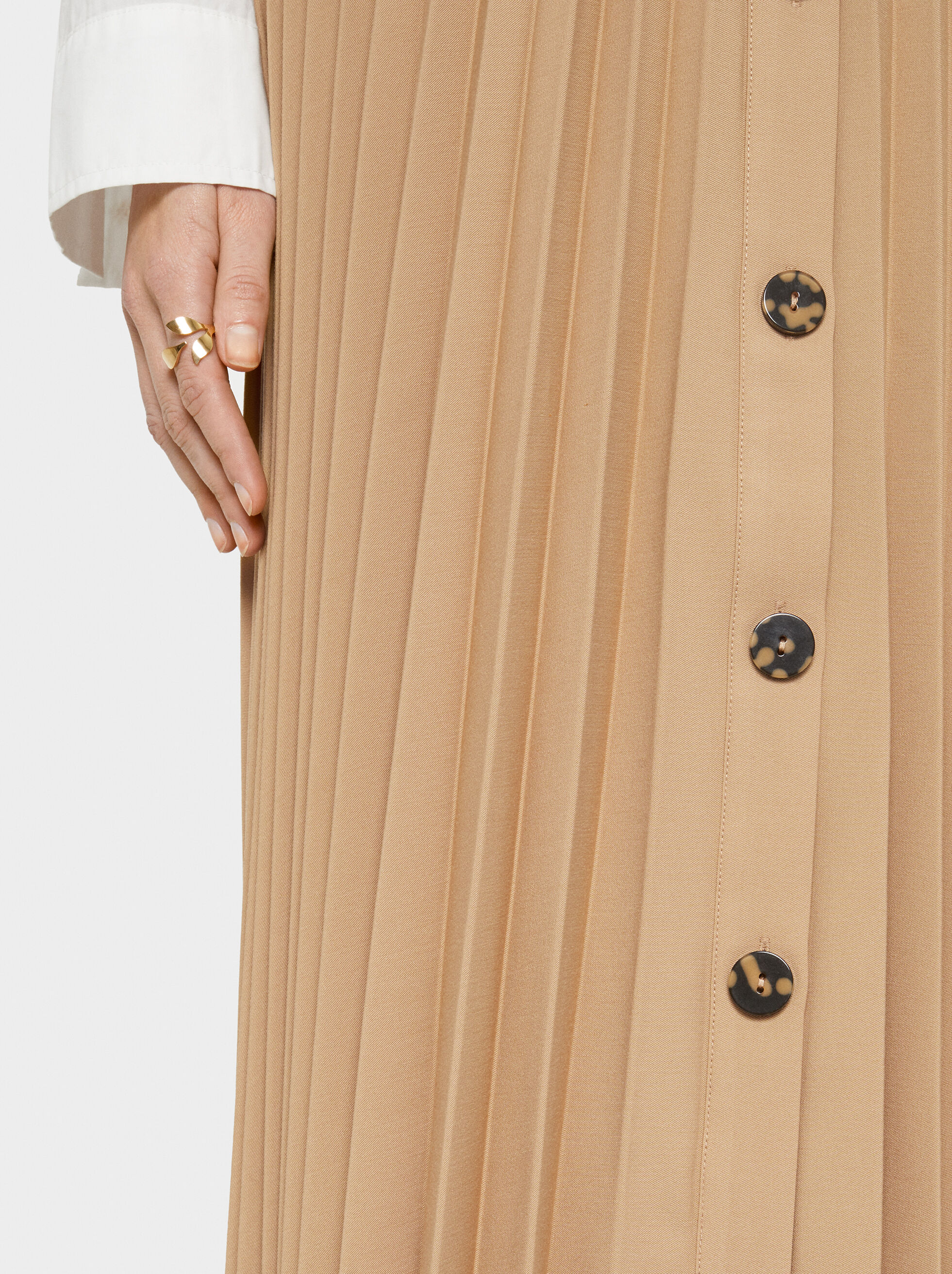 Pleated Skirt With Buttons, Beige, hi-res