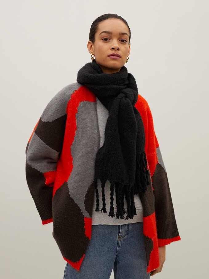 Knit Open Kimono With Multicoloured Print, Red, hi-res