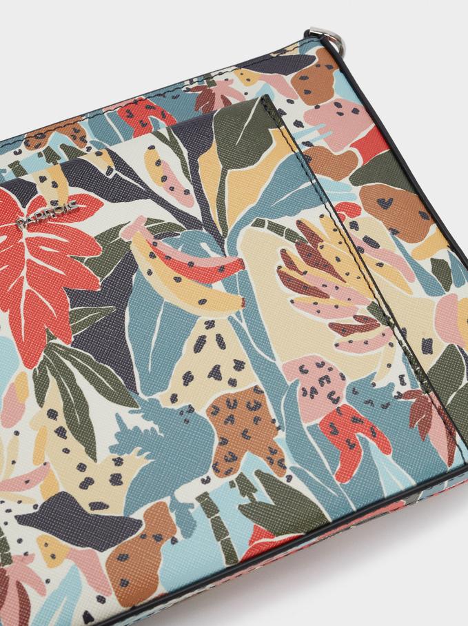 Floral Print Crossbody Bag, Yellow, hi-res