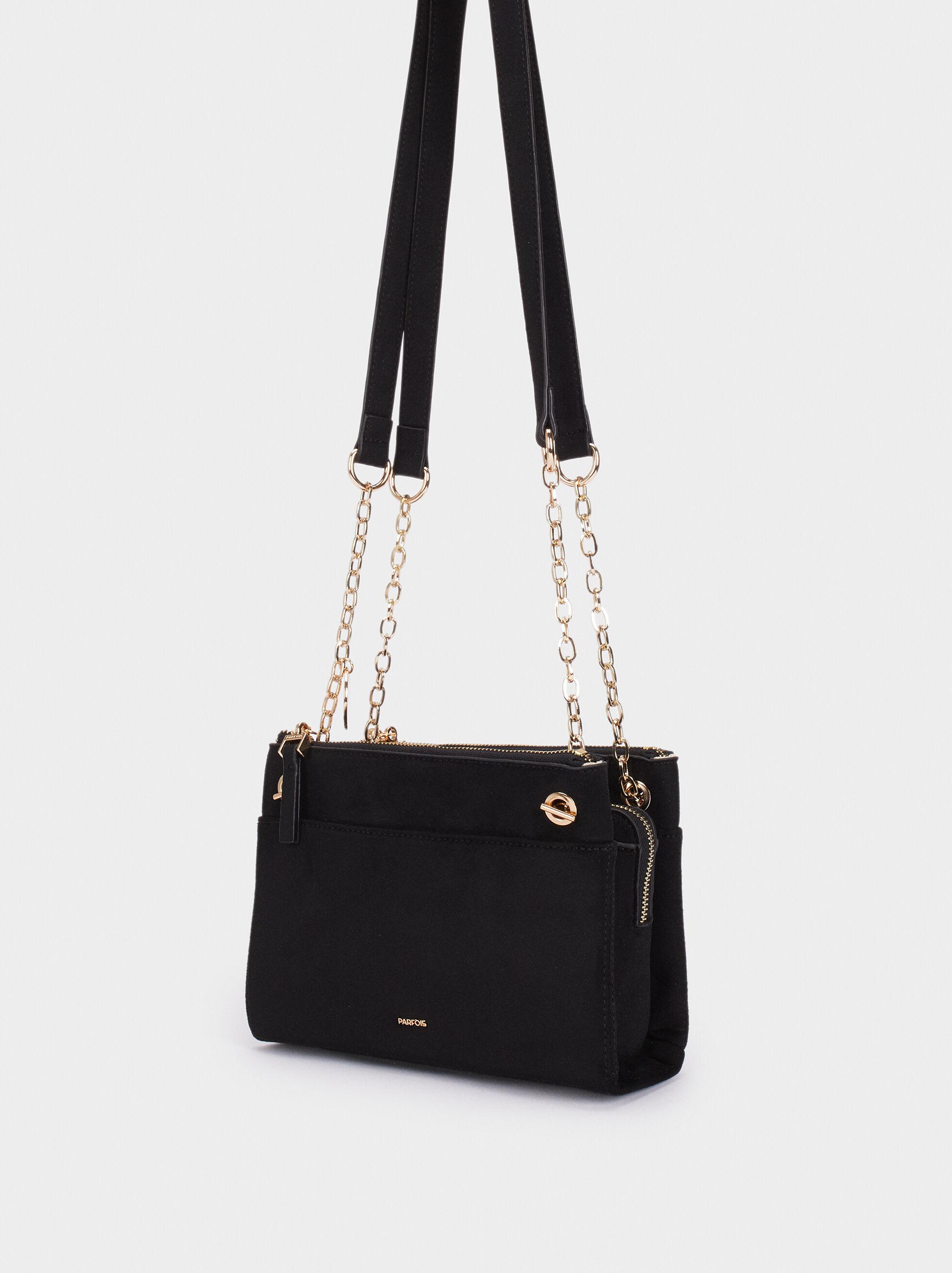 Fake Suede Crossbody Bag, Black, hi-res