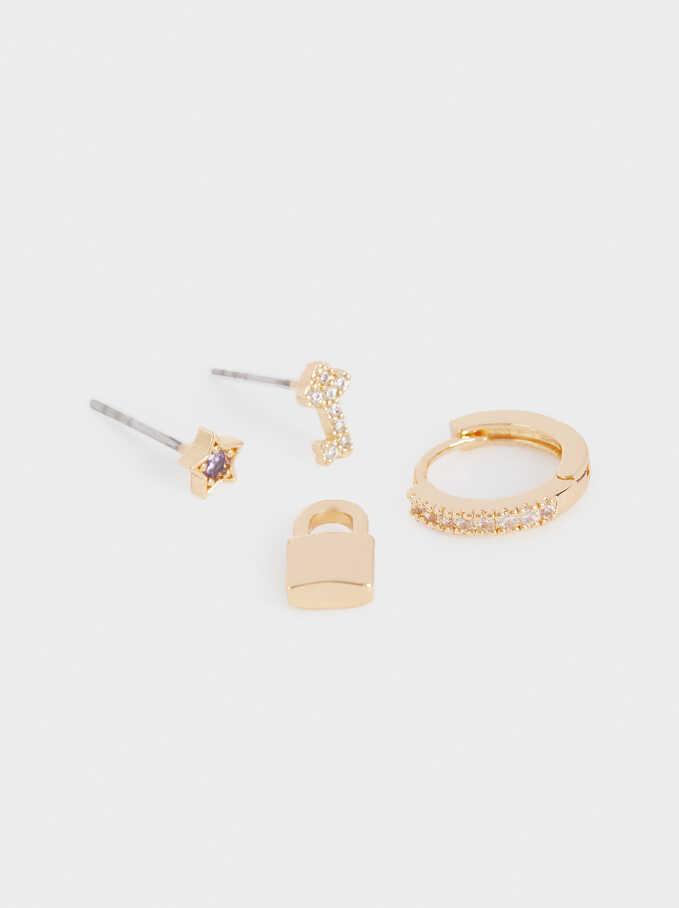 Set Of Small Charm Hoops, Golden, hi-res