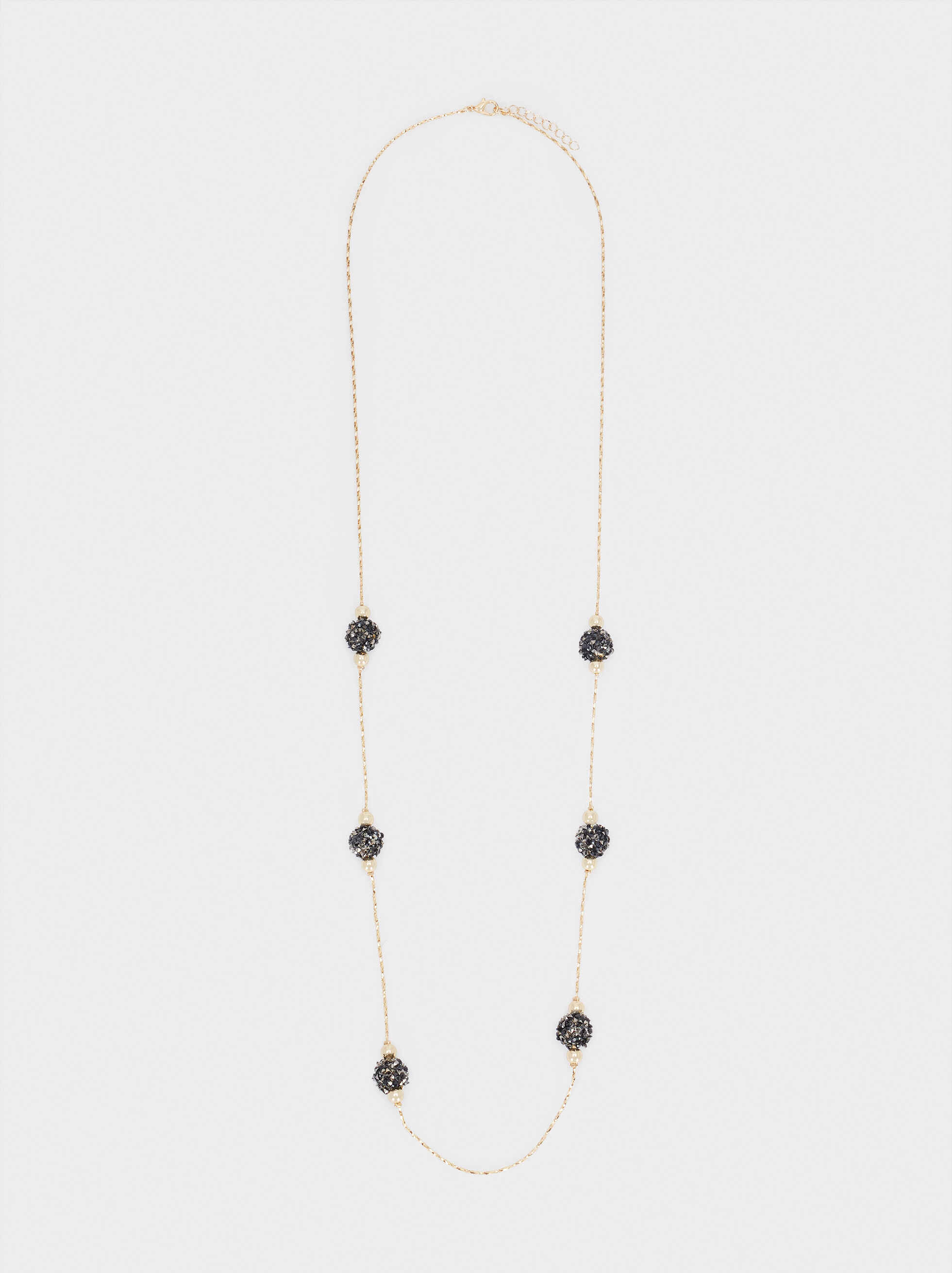 Long Gold Necklace With Crystal And Bead Details, Golden, hi-res