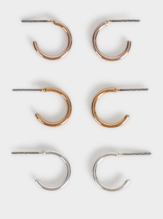 Set Of Basic Small Hoop Earrings, Multicolor, hi-res