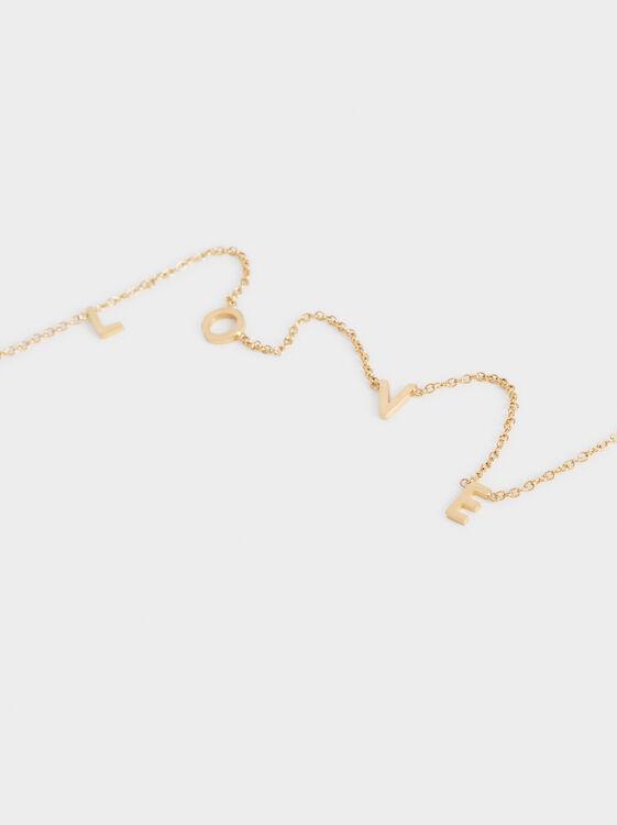 Love Short Steel Necklace, Golden, hi-res